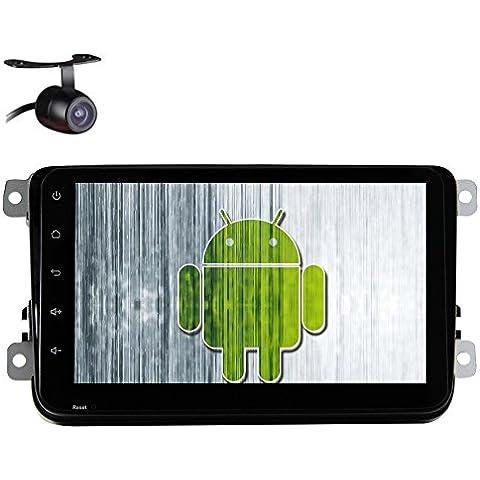 Stereo EinCar Doppio Din Car Unit¨¤ 4.4 Quad Core capo Android da 7 pollici per il GPS Jetta Golf Passat EOS Supporto Sat Nav Bluetooth Car DVD Radio SWC SD USB subwoofer AUX WiFi DVR OBD2 Specchio collegamento + Telecamera di retromarcia - Quad Capo