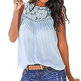 Damen Hemd LSAltd Frauen Mode Spitze Stickerei ärmellose Weste Top Solid Crop Top Casual T-Shirt