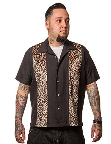 Steady Clothing Herren Vintage Bowling Hemd - Leopard Panel Bowling Shirt XL