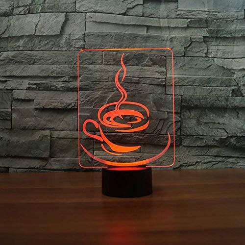 GBBCD Nachtlicht Tasse kaffee 3d nachtlicht led touch button tischlampe 7 farben ändern usb leuchte weihnachten kinder geschenke restaurant dekor