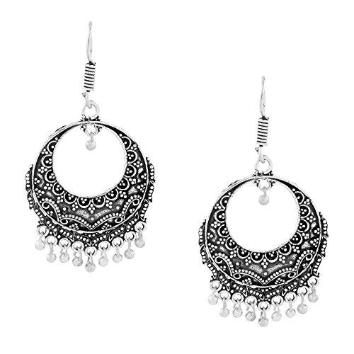 indischen Bollywood Dainty indischen Jaipur Oxidation Deutsch Silber chandbali Ohrring für Frauen