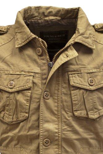 Young & Rich Herren Übergangs Jacke JK-404 vintage Look Slimfit Beige