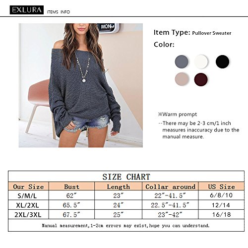 Exlura Damen Schulterfreier Lockerer Oversized Pullover mit Fledermausärmeln Sweater Strick-Pulli Grau
