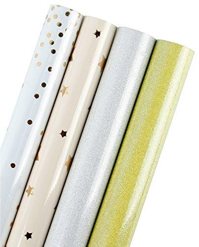 LaRibbons Geschenkpapier Rolle - 76 x 305 cm Jede Rolle - Goldfolie/Glitter - Polka Dots/Sterne/Glitzer Silber/Glitter Gold - Verkauft 4St