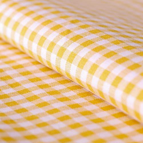 Hans-Textil-Shop Stoff Meterware, Vichy Karo 5x5 mm, Gelb Weiß, Baumwolle, Gewebtes Karomuster, Kariert, Landhaus, Karostoff - 1 Meter
