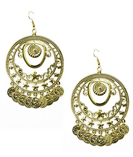 Körner Festartikel Ohrringe Carmen mit Münzen - Gold - Zubehör Piratin Zigeunerin Bauchtänzerin Inderin - Zigeuner Kostüm Paar