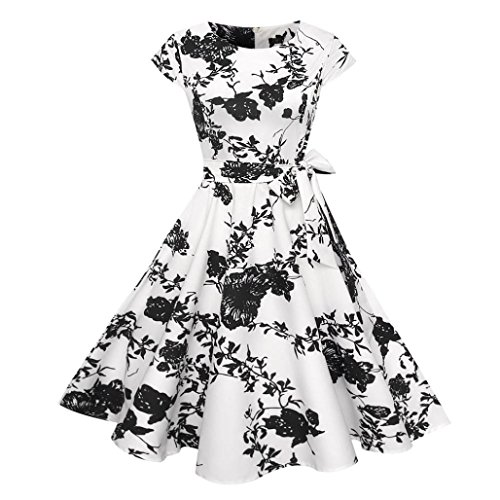OVERDOSE Damen Blumen Vintage 1950er Ärmellos Casual Abend Partei Abschlussball Schwingen Kleid Cocktailkleid Rockabilly - Print Kleid Pullover Leopard