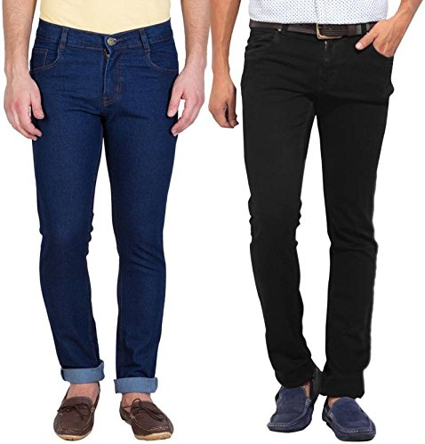 Stylox Stylish Pack Of 2 Cotton Jeans For Men-Dark Blue/Black