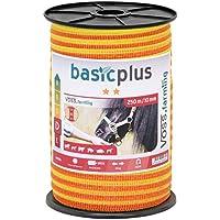 Voss.farming Cinta conductora para Pastor eléctrico 250m, 10mm, Conductores: 4x0,16 Acero Inoxidable, Amarillo-Naranja