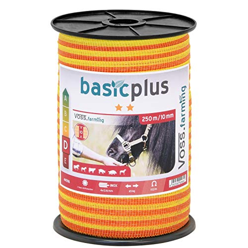 Weidezaun Band 250m, 10mm, 4x0,16 Niro, gelb-orange 1* Weidezaunband