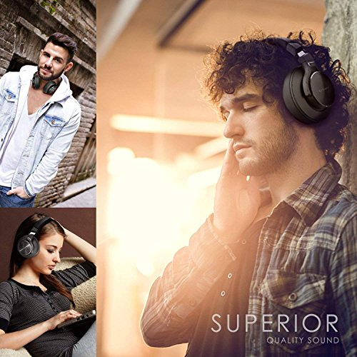 Bluetooth Kopfhörer Noise Cancelling – HiFi Stereo Drahtlose Headset Over Ear mit Mikro Lautstärkeregler für Alle Geräte mit Bluetooth oder 3,5 mm Klinkenstecker - 5