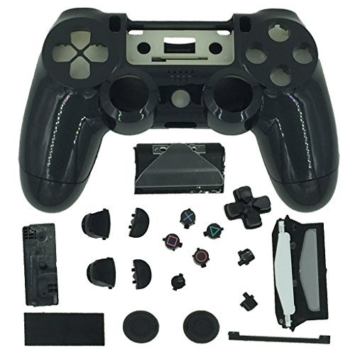 TQS™ Black Replacement Playstation 4 Controller Shell Case Kits Buttons