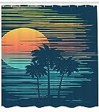 ABAKUHAUS Party Island Cortina de Baño, Cielo De La Tarde Sea Sun, Material Sintético Lavable Estampa Set 12 Ganchos, 175 x 240 cm, Oscuro Azul Petróleo Anaranjado Pálido
