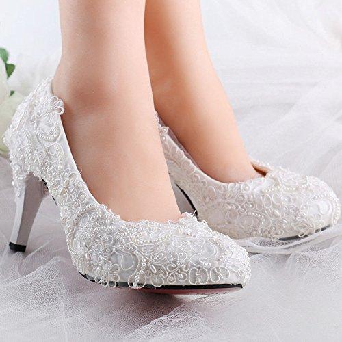 XINJING-S Bowknot High Heels Schuhe Party Hochzeit Frauen Pumps Heels OL Kleidung Schuhe Sandalen Weiß, 3 cm Keile