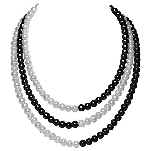 ArtiDeco 1920s Perlen Halskette Damen Gatsby Perlen Kette 20er Jahre Kostüm Accessoires Flapper Zubehör Dual Farbe Halskette Patch Work Stil (Schwarz Weiß) (Schmuck Schwarz Weiß)