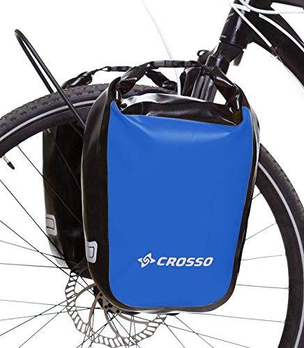 CROSSO® DRY SMALL 30 / DRY BIG 60 Gepäckträgertaschen (30/60 Liter Fahrradtaschen Tarmaulin 2 Taschen Reflexionsstreifen Wasserdicht), Crosso:blau;Größe:30L -