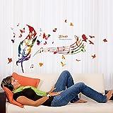 ufengke® Música Notas Pluma Mariposas Pegatinas de Pared,Sala de Estar Dormitorio Removible Etiquetas de la Pared / Murales