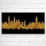 Kunstbruder New York City Skyline - Gold (div. Größen) - Kunst Druck auf Leinwand 30x60cm