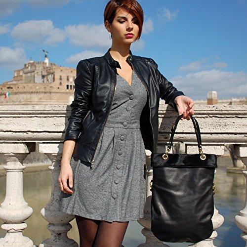 Damen handtasche schwarz Pferdeleder