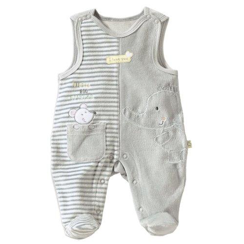 BORNINO Nicki-Strampler Baby Strampelanzug, Größe 62/68, grau