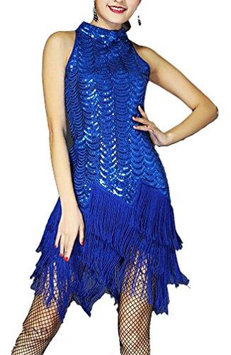 Brinny Paillettenkleid Cocktailkleid Abendkleid 20er Pailletten Bestickt Sequin Feuerwerk Fransen Flapper Kleid Tanzkleid Samba Rumba Tango Gesellschaftstanz Blau
