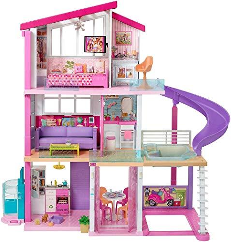 Barbie Casa dei Sogni con 8 Stanze, Il Garage, Piscina, Ascensore e Accessori Trasformabili,, FHY73
