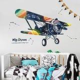 QJONKE Cartoon Flugzeug Tapete Selbstklebende Schlafzimmer Kopfteil Wandaufkleber Zeichnen Ein Wohnzimmer Sofa Hintergrund Wand Kinderzimmer Wandaufkleber