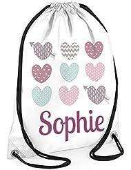Personalizado bolsa de natación, las niñas bolsa de natación, la escuela bolsas, bolsas de las niñas, a prueba de agua bolsa de natación, pastel corazones