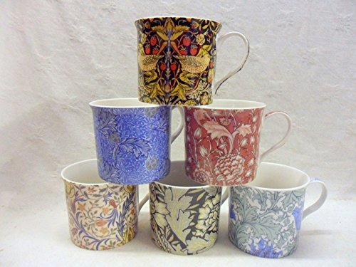 Set-of-6-China-Palace-Mugs-in-assorted-vintage-William-Morris-designs