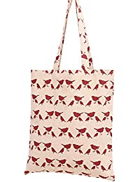 Nuni Women'S Pigeon Bird Print Cotton Canvas Tote Bag (Red/ No Closure)