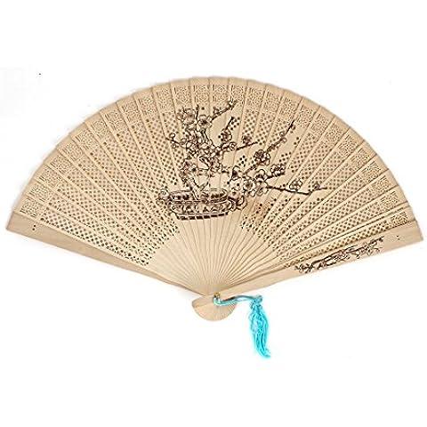 Azul borlas para cuenco tibetano Plum Bonsai imprimir hueca diseño de madera plegable compartimentos de mano
