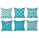 Geometrische, quadratische Überwurf-Kissenbezüge von Wuayi, 6 Stück / Set, modisch und dekorativ, für Zuhause, Sofa, Dekor, Baumwollmischung, blau, 45 x 45 cm