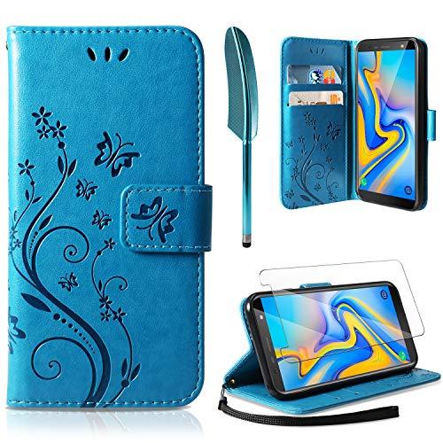 AROYI Lederhülle Samsung Galaxy J6 Plus Flip Hülle + panzerglas,Galaxy J6 Plus Wallet Case Handyhülle PU Leder Tasche Case Kartensteckplätzen Ständer Schutzhülle für Samsung Galaxy J6 Plus Blau