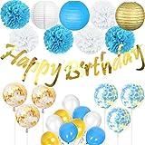 Cebelle Decorazioni per feste di compleanno, striscioni scintillanti di compleanno d'oro, lanterne di carta, fiori in tessuto, palloncini di coriandoli, decorazioni per feste in oro blu e bianco per addio al nubilato, decorazioni per la casa