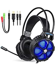Gaming Headphone - EasySMX Cool 2000 Stereo Gaming Headphone for PS4, PC, Xbox One 7.1 Surround Sound Over Ear Headset with Noise Cancelling Mic, LED Light and Volume Control