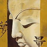 Artland Original Ölgemälde Unikat auf Leinwand von Hand gemalt auf Holz-Rahmen gespannt Ellen F. Kraft der Träume Fantasy & Mythologie Religion Buddhismus Malerei Ocker 80 x 80 x 2,8 cm A0RO