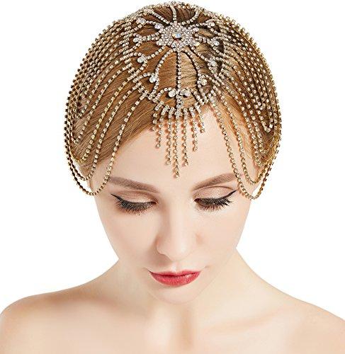 Kostüm Gold Flapper - ArtiDeco 1920s Stirnband Damen Haar Kette Gatsby Kostüm Accessoires 20er Jahre Flapper Blinkendes Haarband