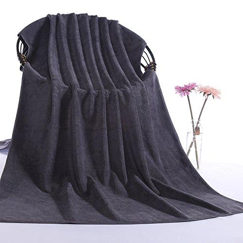 junchen Lot de 1 80 * 180 cm Motif solide doux Serviette de bain pour adulte Cheveux de serviettes H