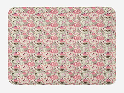 tgyew Floral Bath Mat, Pastel Colored Flowers Abstract Swirls and Hearts Romantic Pattern, Plush Bathroom Decor Mat with Non Slip Backing, 23.6 W X 15.7 W Inches, Pale Pink Beige Fuchsia -