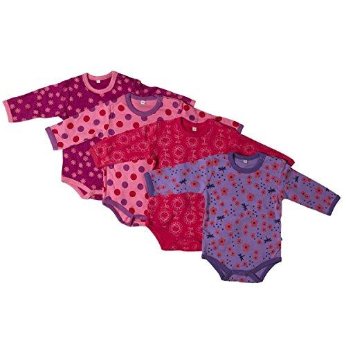 Pippi 4er Pack Baby Mädchen Body mit Aufdruck, Langarm, Alter 18-24 Monate, Größe: 92, Farbe: Lila, 3819