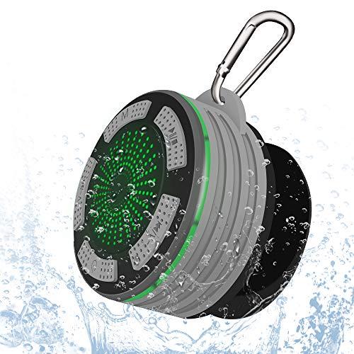 Alitoo Lautsprecher Bluetooth,Wasserdichter Speaker Wireless Duschlautsprecher mit FM Radio,Starker Saugnapf und Haken,LED-Licht,Eingebauter Mic,Tragbare Duschradio für Outdoor, Dusche(Upgrade Grey)