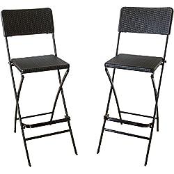 2tabourets de bar avec dossier en rotin pliable chaise pliante tabourets de bar