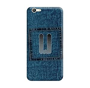 Vivo Y55L Back Cover designer 3D Hard Mobile Case printed Cover for vivo y55L by Gismo - Alphabet U Letter Jeans Denim Blue Pattern