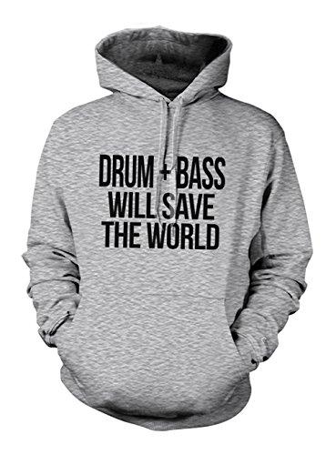 Drum And Bass Will Save The World Hoodie Sweatshirt Grau Small