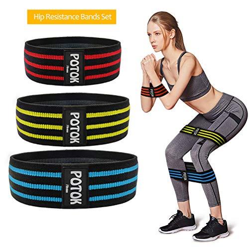 Potok Fitnessbänder Set Trainingsbänder Loop Band Hip Band in 3 verschiedenen Widerstandsstärken für eine stabile Muskulatur Leicht - Mittel - Stark