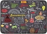 Alfombras de baño Alfombras de baño Alfombrilla para exterior / interior España Garabatos Letras españolas Comida Paella Camarones Aceituna Uva Abanico Barril de vino Guitarras Instrumentos musicales