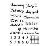 ECMQS Monat DIY Transparente Briefmarke, Silikon Stempel Set, Clear Stamps, Schneiden Schablonen, Bastelei Scrapbooking-Werkzeug