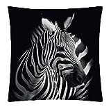Kissenhülle Fotodruck Kurzplüsch Kissenbezug Deko Kissen ca. 40x40 cm #1329 Zebra A