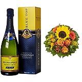 Monopole Heidsieck Blue Top Brut Champagner + Blumenstrauß Sonnenlicht mit einer Sonnenblume