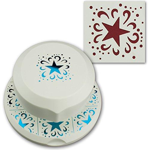 Artoz fliegender Stanzer I Stern mit Ornament I Frei positionierbarerer Locher zum Karten-Basteln I Weihnachten Advent Einladungen Gruß-Karten